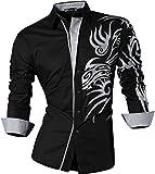 Sportrendy Herren Freizeit Hemden Slim Button Down Long Sleeves Dress Shirts Tops JZS043 Black L