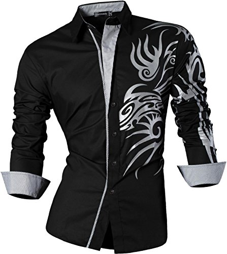 Sportrendy Herren Freizeit Hemden Slim Button Down Long Sleeves Dress Shirts Tops MFN2_JZS041 JZS043_Black
