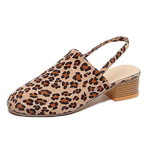 Frauen Leopardenmuster Gurt AußErhalb Schuhe Sommer EIN StüCk Schnalle Niedriger Absatz Atmungsaktiver Gurt Breite Sandalen