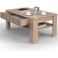 VICCO Couchtisch Mit Schublade Eiche Sonoma 110 X 65 Cm Wohnzimmertisch  Beistelltisch Kaffeetisch Holztisch