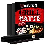 Bullhouse Grillmatten (3er Set) für Grill & Backofen | Extra Dick & Garantiert hitzebeständig bis 260°C | Antihaftbeschichtung | Grillmatte 40 x 33 cm