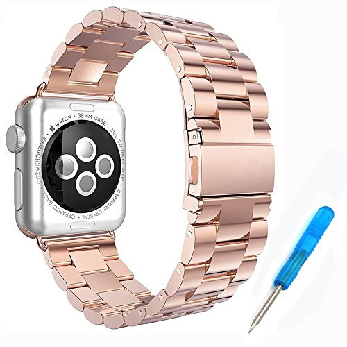 Preisvergleich Produktbild Woodln für Apple iWatch Series 1 Series 2 Edelstahl Uhrenarmband Strap Replacement Wrist Band Armband für Apple Watch 42 mm/38 mm (42MM, RoseGold)
