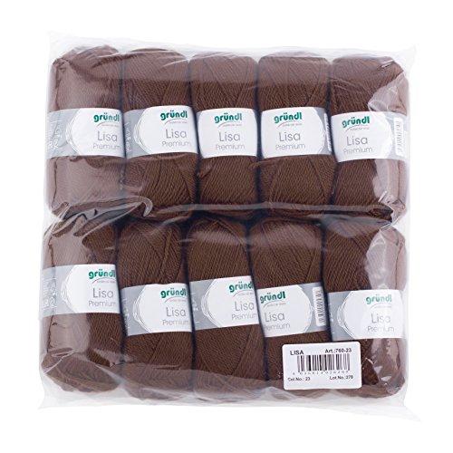 Gründl 760-23 Lauflänge pro Knäuel, Lisa uni, 50 g, 10-er Pack, 133 m, schokolade