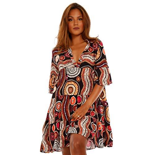 YC Fashion & Style Damen Tunika Kleid mit Patchwork Muster Boho Look Partykleid Freizeit Minikleid oder Strandkleid HP219 Made in Italy (One Size, Model41) Damen Fashion Kleid