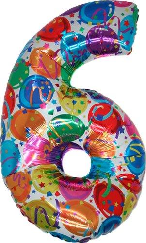 Un gigante Jumbo 40 'Globo Foil Número 6 - Piso en multicolor