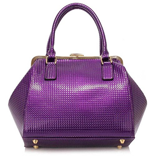 TrendStar Damen Designer-Handtaschen-Schulter-Patent Bow Frame Satchel Frauen faux Leder Promi-Tasche Lila Handtaschen