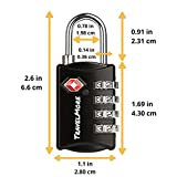 TSA Luggage Locks with 4 Digit Combination – Heavy Duty Set Your Own Padlocks for Travel, Baggage, Suitcases & Backpacks – 1, 2 & 5 Pack (Black - 3 Pack)