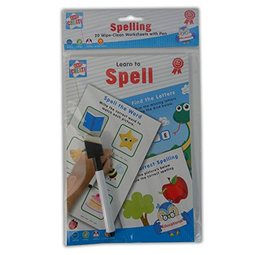 Learn To Spell - Spelling Writing & Reading 20 Wipe-Clean Worksheets with Pen