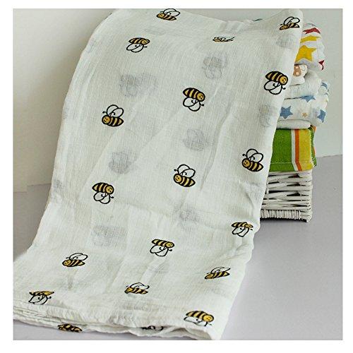 Kleitung 1 Stück Babydecke Musselintuch Badetuch Swaddle Pucktücher Farbenfrohe Drucke Badetuch Mit Tiermotiv Baby Badetuch Superweiche (Biene)