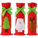 3 Stück Weihnachtsweinflaschen Beutel Weihnachtsgeschenk Halter Zugkordelbeutel Weihnachtsmann Davidshirsch Weihnachtsbaum Weinflasche Deckel Halter