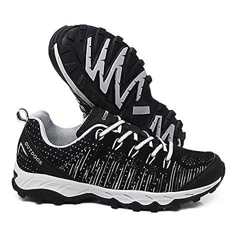 Hommes/dames Mode Respirant flyknit Loisir Chaussures de sport Durable Léger Antidérapant sneaker Courir Le camping Randonnée , Black , 42