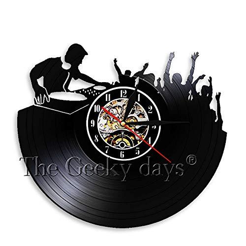 1 Pieza DJ Reloj de Pared Música Disco de Vinilo Reloj Arte de La Pared Decoración para Club Nocturno Regalo Hecho A Mano para DJ Amante Creativo Reloj Decorativo