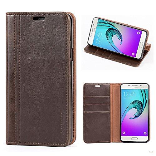 Mulbess (Book Style) Premium Handy Schutzhülle Ledertasche im Kartenfach für Samsung Galaxy A5 (2016) Tasche Hülle Leder Etui Schale,Vintage Braun