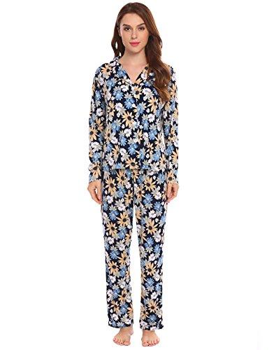 ADOME Damen Lang Pyjama Blumen Langarm Schlafanzug Blumendruck Zweiteiliger Hauszug Marine571