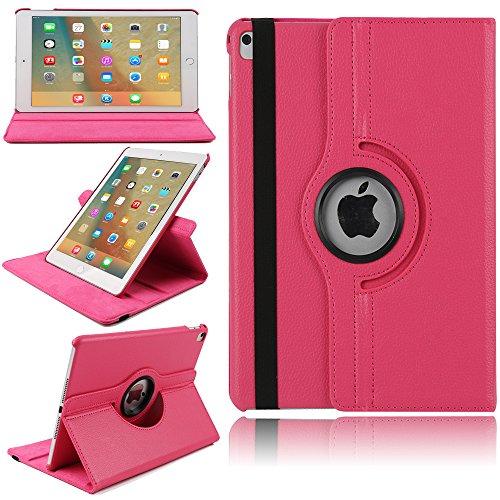 TechCode Lady iPad air Tasche, Magnetic Detachable Hidden Multi-Angle Folio 360 Grad Drehende Stand Cover Smart Hülle für iPad air (iPad air, Hot Pink) Lady Hot Pink Leder
