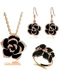 4bb951535333 Emorias 1 Set Collar de Aleación Rosa Negra Pendientes Juego de Joyas de  Mujer Anillo Boda