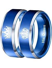 OBSEDE King Queen Azul Rey Reina De Acero Inoxidable 316L Anillo De Los Amantes De La