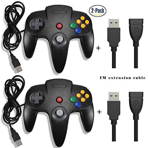 64-verlängerungskabel Nintendo (Exlene® 2 Pack Retro USB N64 Nintendo Game Controller Gamepad Joystick mit 1M USB Verlängerungskabel für Windows PC / Mac Raspberry Pi (Schwarz))