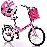 TD Le Nouveau Pli Vélo 16 Pouces Atténuation des Adolescents Vélo Personnes Âgées Hommes Et Femmes Étudiant Adulte Enfant Porte Bébé (Couleur : Pink)