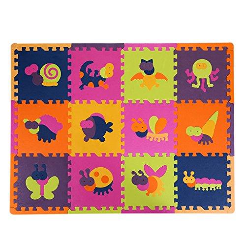 Nette kriechende Matte der Kinder, Schlafzimmer-Schaum-kletternde Matten, Hauptschaum-Auflage 30 * 30 * 1.3 Cm (Color : Animal models)