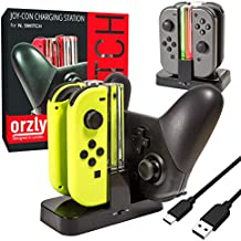 ORZLY® Switch Pro Controller Dock, Multi Estación de Carga [Luces LED Individuales y Cable USB TypeC] - Para cargar hasta CUATRO Joy-Cons de la Nintendo Switch (o 1 Pro Controller y 2 Joy-Cons)