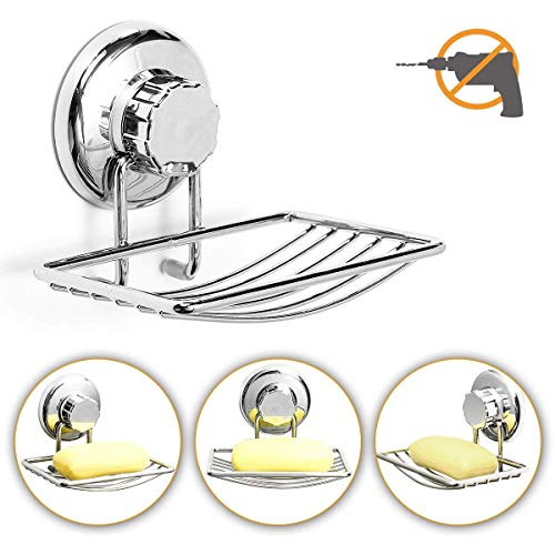 TAPCET Vacuum Suction Cup Soap Dish Holder Stainless Steel Soap Sponge Holder Shower Soap Dish No-Drilling Anti-Corrosion Soap Holder for Bathroom/Kitchen Silver