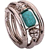 Yazilind Jewelry Vintage Tibetan Silver Twisted Rimous Green Turquoise Arm Bangle Bracelet for Women