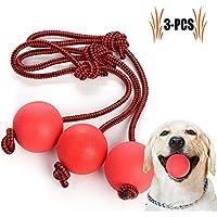 Legendog Wurfball Hund, 3 Stück Elastische Hundespielzeug Ball mit Seil   Naturgummiball Seil   Welpenspielzeug Hund   Kleine Hunde Spielzeug   Spielzeug für Hunde   für Kleine Hunde Welpen