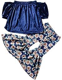 Brightup Niñas Verano Camiseta + Pantalones de Bottoms 2 piezas conjuntos de ropa 2-7