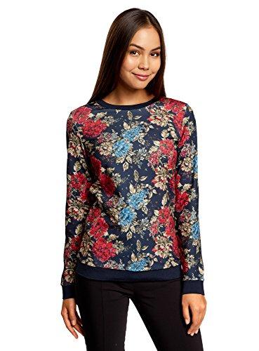 oodji Ultra Femme Sweat Shirt Imprimé avec Liseré Contrastant Bleu (7968F)
