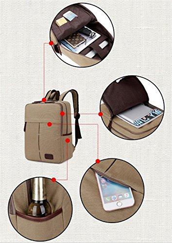 Tela borsa a tracolla viaggio zaino grande capacità computer borsa uomini e donne retro tela Black