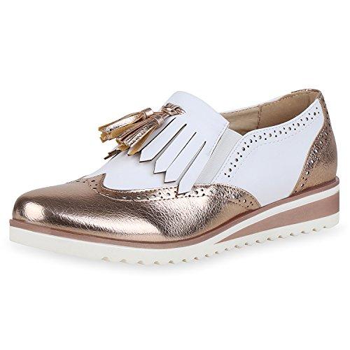 SCARPE VITA Damen Halbschuhe Brogues Keilabsatz Schuhe Quasten Fransen Wedges 166874 Gold 36