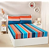 Amazon Brand - Solimo Vivid Stripes 144 TC 100% Cotton Double Bedsheet With 2 Pillow Covers, Teal And Orange