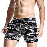 MOIKA Herren Boardshorts, Männer Casual Elastische Tarnung Sport Hosen Strand Shorts Sweatshorts Badeshorts Casual Strandhosen(M,Grau)