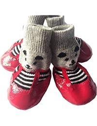 Feidaeu Zapatos para Mascotas 4 unids/Set Caucho de algodón Impermeable Antideslizante Lluvia Botas de Nieve Calcetines Calzado…