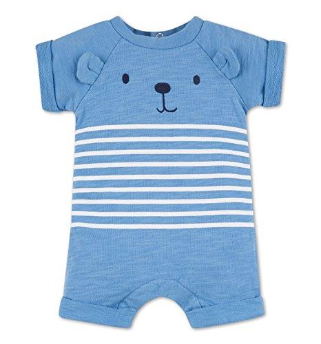C&A Baby Jungen Overall Kurzarm gestreift mit Bärchen - Print blau - weiß Größe 56