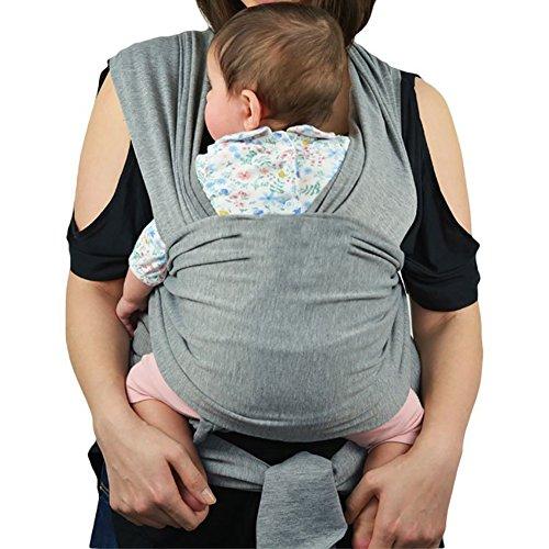 KidsHobby® Bambino Wrap naturale imbracature portante Premium Cotton originale più posizioni Sling morbido e leggero per il neonato lattanti sin dalla nascita One Size Fits All-grigio