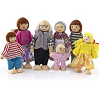 The Best Toy Gift,Winkey Wooden Furniture Dolls House Family Miniature 7 People Set Doll Toy For Kid Child