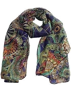 Bufandas mujer verano Switchali Moda Mujer bufanda de gasa de seda Vendimia estampada chica largo suave chal bufanda
