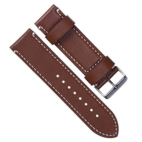 24mm-vintage-genuine-leather-silver-buckle-watch-strap-watch-band-white-stitch-coffee-by-weiyissinc
