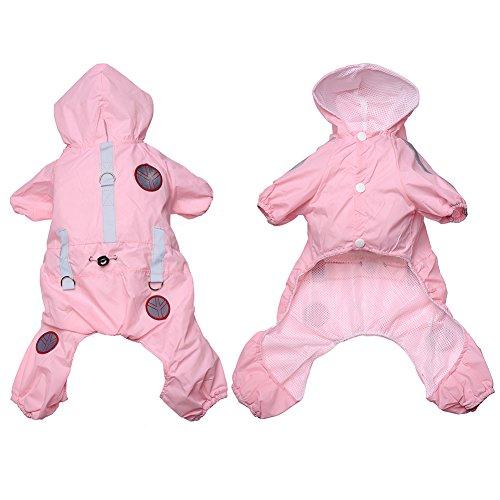 Mascota Perro Poncho con capucha chubasquero con cuatro tiras reflectantes de seguridad de Leggings perro lluvia abrigo chaqueta