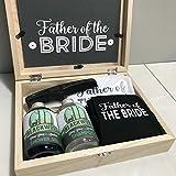 Vater der Braut Holz Geschenkbox gefüllt mit Socken, Einstecktuch, Duschgel, Shampoo, Münzen, Pocket Kamm Hochzeit Morning Geschenk-Set
