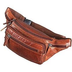 STILORD 'Zion' Vintage Riñonera Cuero para Fiestas Viajes Festivales Deporte Bolso Cintura Vacaciones Senderismo de Auténtica Piel, Color:Brandy - marrón