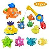 Giocattolo da Bagno 11 Pezzi Bath Toys Giochi d'Acqua Set da Pesca colorato Galleggiante Anatra per Bambine e Bambini giocati nella Vasca da Bagno Pool Bubble Shower