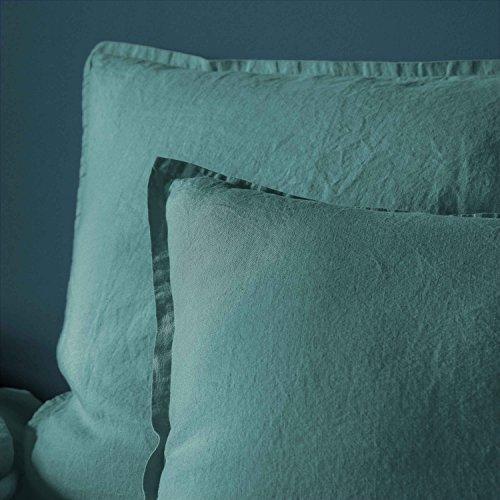 BLANC CERISE Taie d'oreiller en lin lavé véritable 50x70 cm