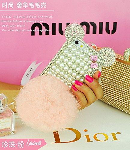 Coque iPhone 6 Plus/6S Plus , iNenk® Rex cheveux en peluche Téléphone Shell Housse protection logement femelle personnalité de la mode luxe de diamant Couverture-Rose Rose