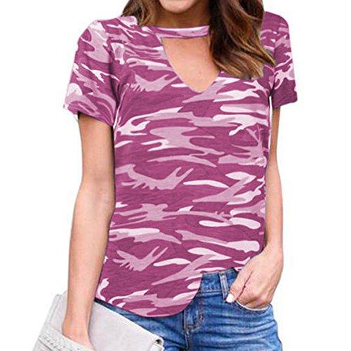 Kootk Femmes Été Casual T-Shirt Camouflage Halter Manches Courtes Col V Tops T-Shirt 4 Couleurs Violet