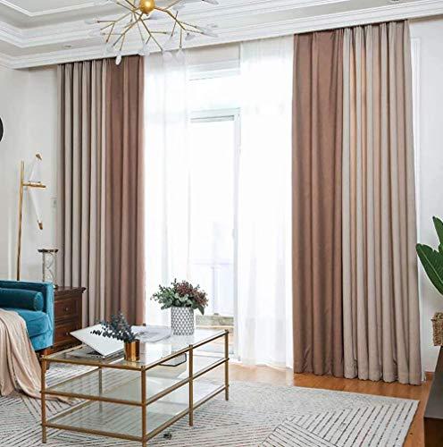 Nähte im europäischen Stil Chenille-Vorhänge Moderne minimalistische Wohnzimmer Schlafzimmer Verdunkelungsvorhänge 150 cm x 270 cm (Breite x Höhe) 2 Paneele Fotofarbe -