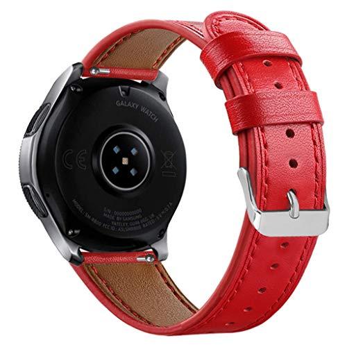 Vamoro Lederarmband Ersatzband Ersatz Lederband Armband Uhrenarmband für Samsung Watch 46mm Ersatz Uhren-Armband Ersatzband Uhrenarmband(Rot)