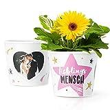 Facepot Lieblingsmensch - Blumentopf (ø16cm) Geschenk für beste Freundin oder Freund mit Bilderrahmen für 2 Fotos (10x15cm)